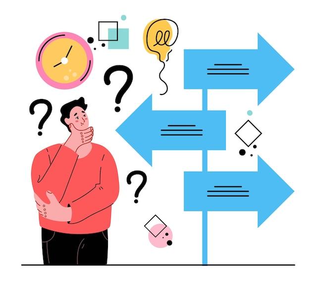 Manncharakter, der eine schwere entscheidung trifft und optionen für die zukunft wählt