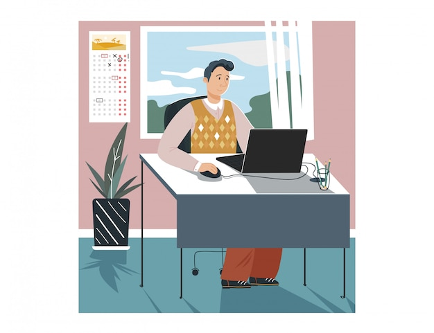 Manncharakter, der in der büroarbeitsfirma laptop, männlicher angestellter geschäftsfirma auf weiß, karikaturillustration sitzt.