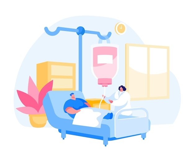Manncharakter, der in der kammer der klinikabteilung im krankenhaus liegt, das behandlung anwendet
