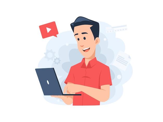 Manncharakter, der online auf einer laptopkonzeptillustration im flachen design lernt