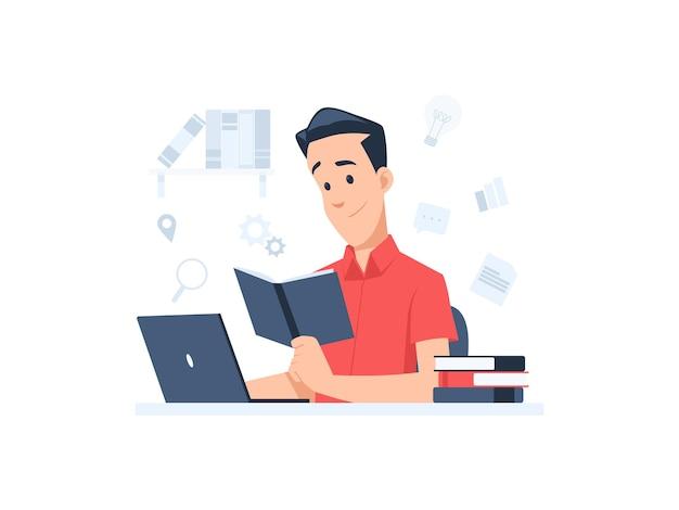 Manncharakter, der online lernt und eine buchkonzeptillustration im flachen design liest