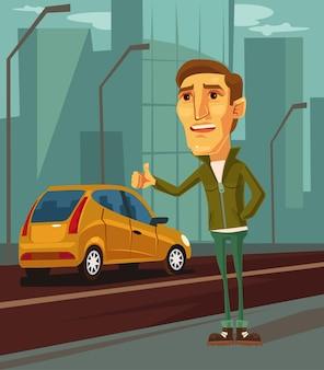 Manncharakter, der versucht, taxikarikaturillustration zu fangen
