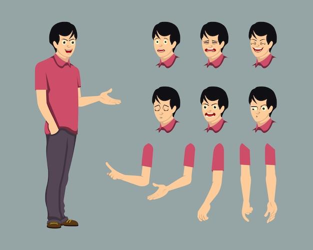 Manncharakter für bewegungsdesign und animation