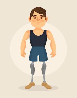 Manncharakter mit fußprothese. flache karikaturillustration