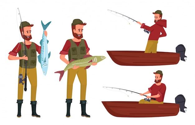 Manncharakterentwurf mit einem bart in einem roten kapuzenpulli, grüne weste fing einen großen fisch. mann, der auf boot fischt.