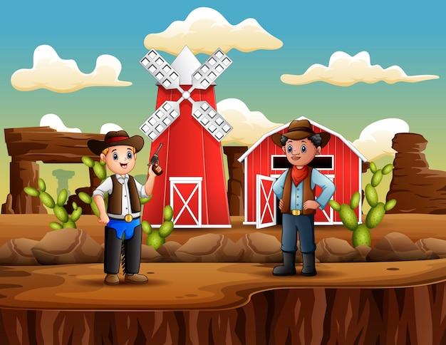 Manndieb mit cowboy in der wildwestlandschaft