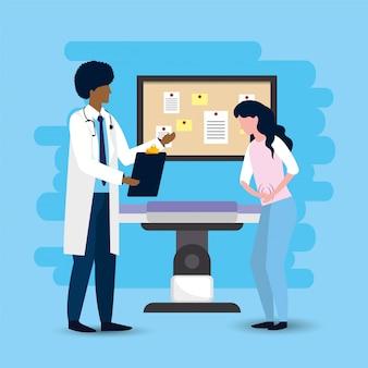 Manndoktor mit kranker geduldiger diagnose