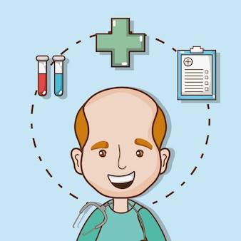 Manndoktor mit stethoskop und ärztlicher verordnung