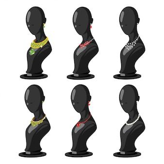Mannequinmode-vektor eingestellt mit schmuckzubehör. goldkette und ohrringe mit edelsteinen. cartoon illustration isoliert