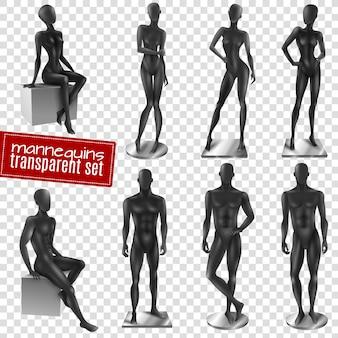 Mannequins schwarz realistisch transparent hintergrund set
