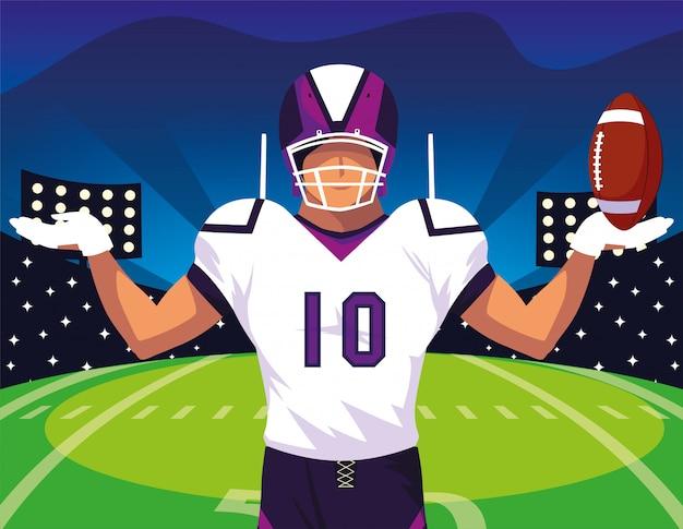 Mannfußballspieler des rugbys, sportler mit uniform