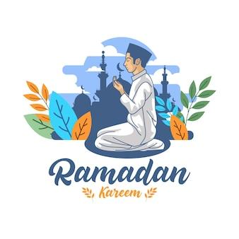 Manngebet in der flachen designillustration des ramadan