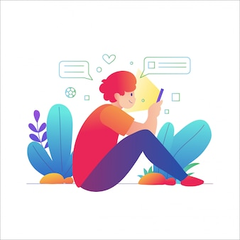 Manngebrauch smartphone, ein mann, der unter verwendung eines handys sitzt