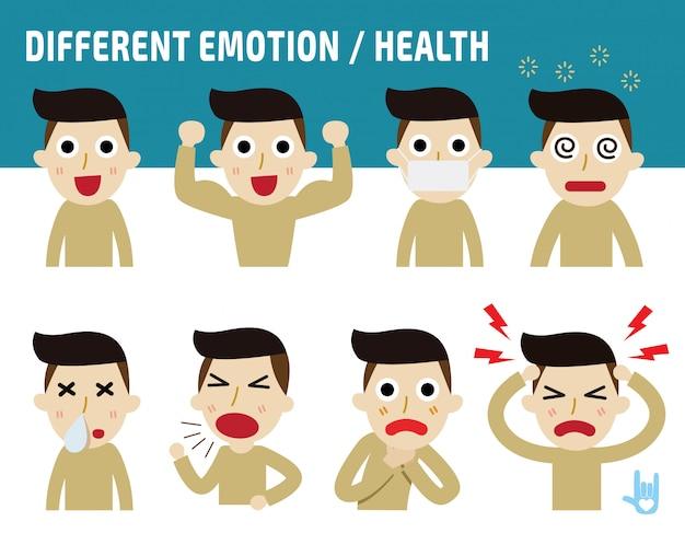 Manngesichter, die unterschiedliche gefühle zeigen.