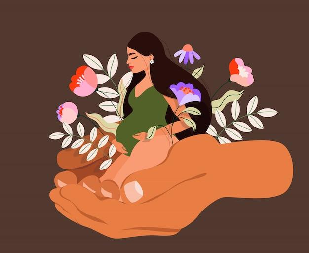 Mannhände, die schwangere frau und blumen halten. frühlingspflanzen und langhaarige schwangere frau sitzen. handgezeichnete illustration auf braunem hintergrund. konzept der weiblichen gesundheitsversorgung und schwangerschaft.