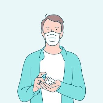 Mannhände mit waschhanddesinfektionsgelpumpenspender. hand gezeichnete artvektorillustrationen.