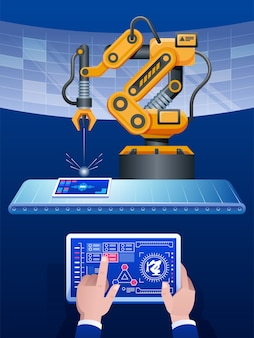 Mannhand, die tablette und gelben ton des automatisierten drahtlosen roboterarms im intelligenten fabrikhintergrund hält