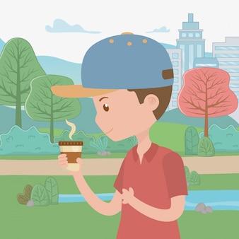 Mannkarikatur mit kaffeetasse im park