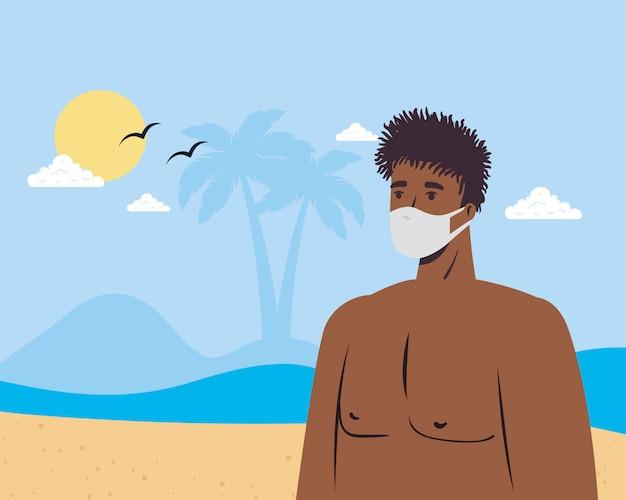 Mannkarikatur mit medizinischer maske am strandvektorentwurf