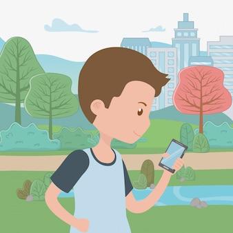 Mannkarikatur mit smartphone im park