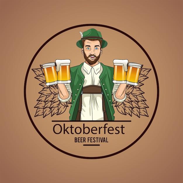 Mannkarikatur mit traditionellem stoff- und bierglasentwurf, oktoberfest deutschlandfest und feierthema