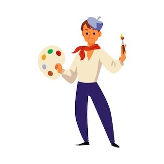 Mannkarikaturfigur des künstlers mit farbpalette und pinsel