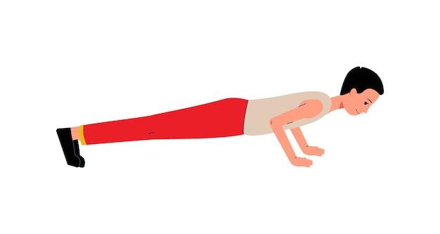 Mannkarikaturfigur, die liegestützübungen auf bodenmännersport- und gesundem lebensstilkonzept tut.