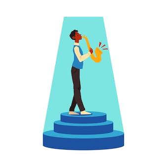 Mannkarikaturfigur, die saxophon spielt, illustration auf weißem hintergrund. talent show teilnehmer oder musikalischer performancekünstler.