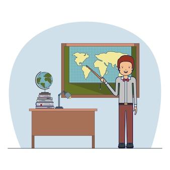 Mannlehrer im gesellschaftsanzug auf klassenzimmer