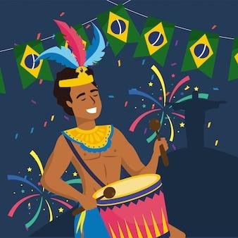 Mannmusiker mit trommel und party brasilien