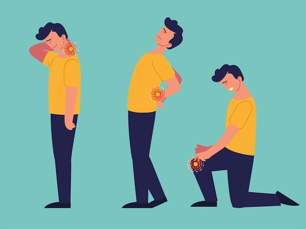 Mannpatient, der gelenkschmerzen leidet