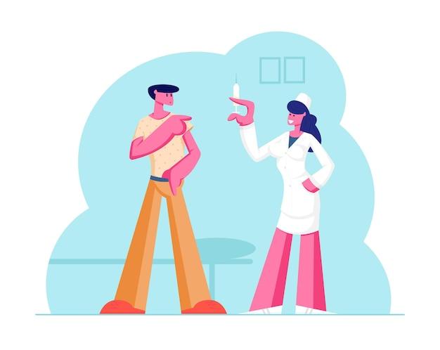 Mannpatient, der krankenhaus zur impfung besucht. karikatur flache illustration