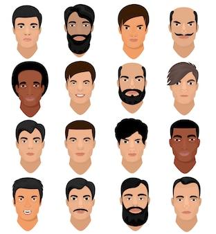 Mannporträtvektor männliches charaktergesicht des jungen mit frisur und karikaturmannähnlicher person mit verschiedenen hautton- und bartillustrationssatz von männlichen gesichtsmerkmalen lokalisiert auf weißem raum
