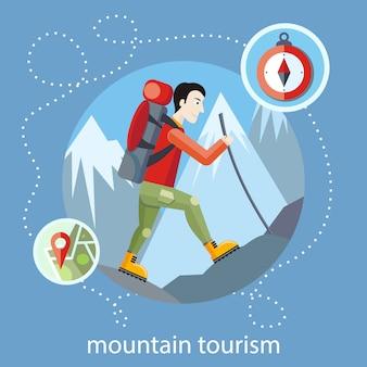 Mannreisender mit dem rucksack, der die ausrüstung geht in berge wandert. bergtourismus