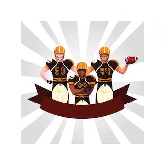 Mannschaft des amerikanischen fußballs der spieler, sportler mit uniform