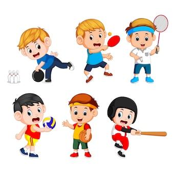 Mannschaftssportarten für kinder einschließlich basketball