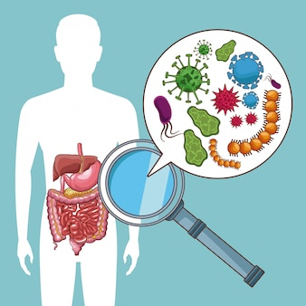 Mannschattenbild mit magenschmerzen bacterias