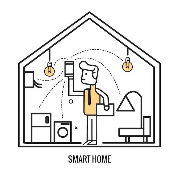 Mannsteuerung zuhause elektronisch durch intelligentes gerät