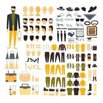 Mannzeichensatz für animation mit verschiedenen ansichten, frisur, gefühl, haltung und geste.