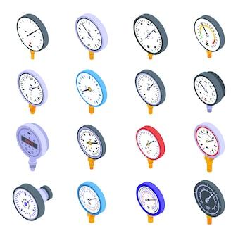 Manometer-symbole eingestellt. isometrischer satz von manometervektorikonen für webdesign lokalisiert auf leerraum