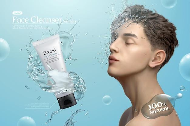Mans gesichtsreiniger-werbung mit wasserspritzern um produkt und gutaussehender mann