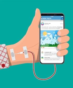 Mans hand verbunden mit nadel zum mobilen smartphone. sucht nach gadget mit social media. süchtig nach sozialen netzwerken, chatten und messaging. vektorillustration im flachen stil