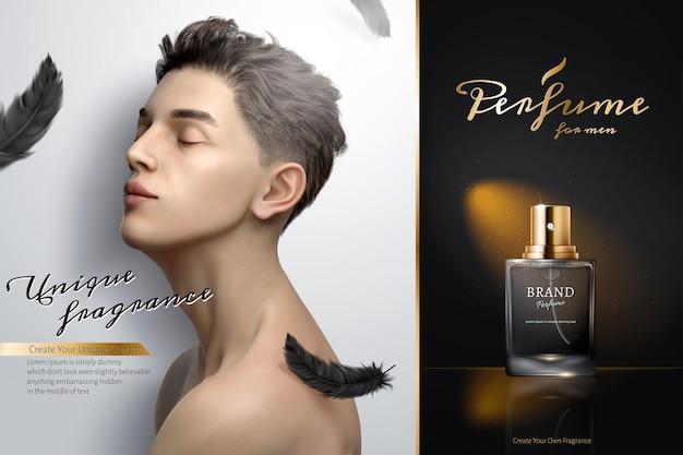 Mans parfüm- oder köln-werbung mit gutaussehendem mann mit geschlossenen augen und schwebenden schwarzen federn