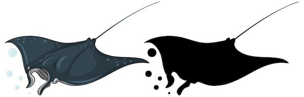 Manta ray charaktere und seine silhouette auf weiß