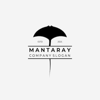 Mantarochen-logo-vektor, illustrationsdesign von stingray-weinlese, ozean-konzept mit fisch