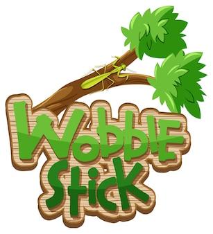 Mantis-cartoon-figur mit wobble stick-schriftart-banner isoliert
