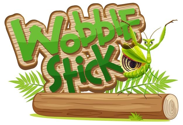 Mantis-cartoon-figur mit wobble stick-schriftart isoliert
