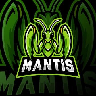 Mantis maskottchen logo esport gaming illustration