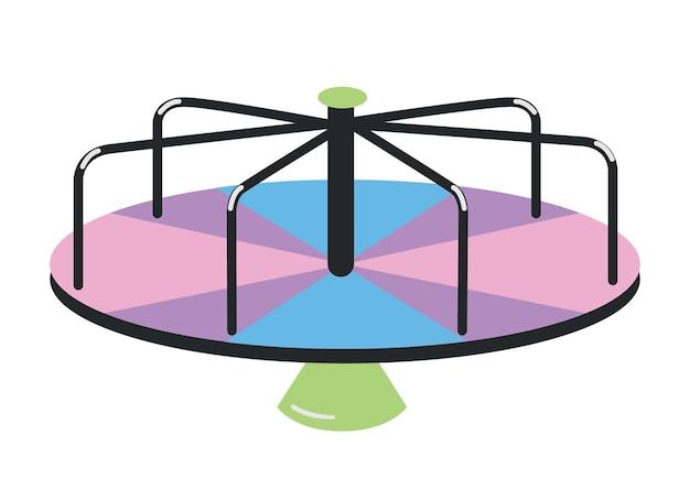 Manuell angetriebenes spielplatzkarussell oder kreisverkehr lokalisiert auf weißem hintergrund.