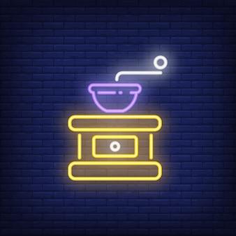 Manuelle kaffeemühle leuchtreklame